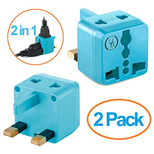 USA to UK Plug Adapter by Yubi Power 2 in 1 Universal Travel Adapter with 2 Universal Outlets - Light Blue 2 Pack - Type G for United Kingdom, England, - Outlet Malaysia Store