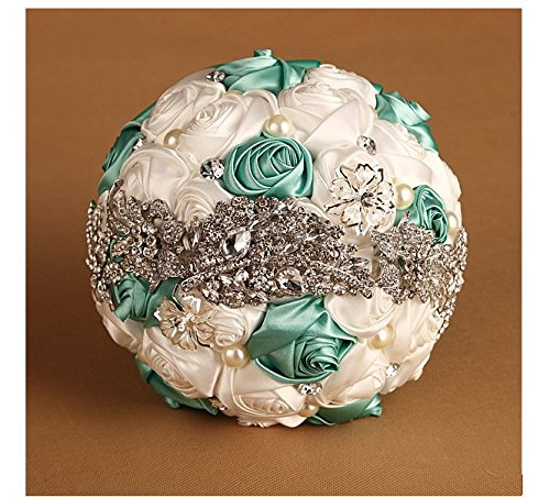 Burst Models in Europe and America Wedding Bridal Bouquets Welcome Props Holding Bridesmaid Bouquet Applicable Studio Shot Bouquet Western-style High-end Handmade Silk Valentine's Day Bouquet Bride Satin Holding Flowers Wedding (green+white)