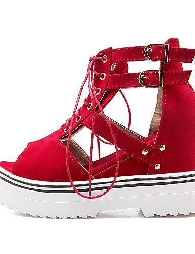 ShangYi Women's Shoes Fleece Wedge Heel Wedges Sandals Casual Black / Blue / Red / Beige Red 9uuorC8