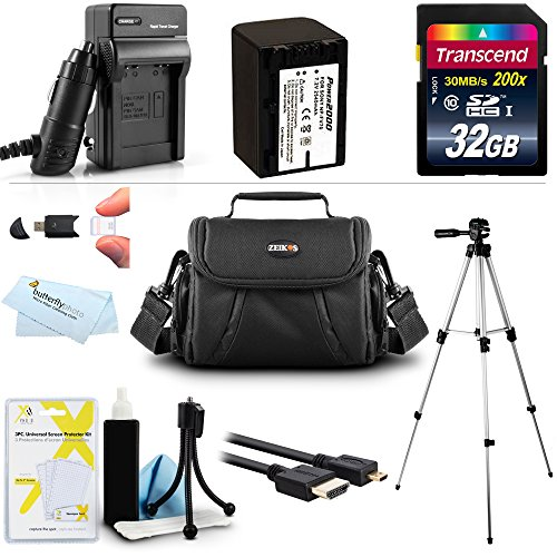 32GB Accessory Kit For Sony HDR-PJ380/B, FDR-AX100 HDR-CX900, FDRAX33/B, FDR-AX53, FDRAX53/B Camcorder Includes 32GB High Speed SD Memory Card + Replacement NP-FV70 Battery + Charger + Case + Tripod + More by Butterfly