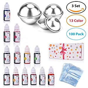 Bath Bomb Mold Set with Soap Colorant | DIY Metal Bath Bomb Molds| Shrink Wrap Bags|Bath Bomb Making Supplies Kit for Crafting Your Own Fizzles with Instructions