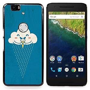 """For Huawei Google Nexus 6P Case , Nubes crema de hielo Lluvia feliz de la historieta"""" - Diseño Patrón Teléfono Caso Cubierta Case Bumper Duro Protección Case Cover Funda"""