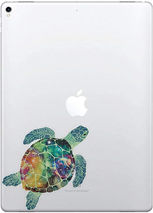 FINCIBO 5 x 5 inch Galaxy Sea Turtle Removable Vinyl Decal Stickers for iPad MacBook Laptop (Or Any Flat Surface)
