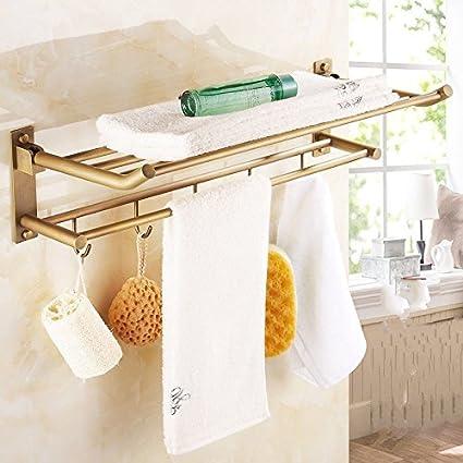 KIEYY Cobre antiguo completa toalla doblada de toallas de baño rack Bastidores con baño de estilo