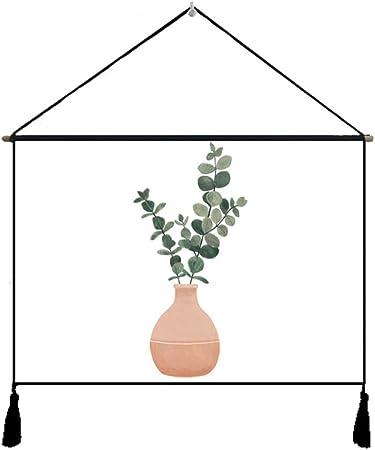Dibujos Animados nórdicos Planta Verde Colgando Pintura Lienzo algodón y Lino Tapiz Fondo Tapiz Tapiz Pintura Colgante: Amazon.es: Hogar