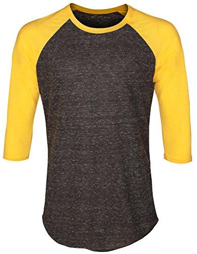 inclusion-apparel-unisex-raglan-shirt-baseball-tee-3-4-sleeves-athetic-fit-top-charcoal-yellow-x-lar