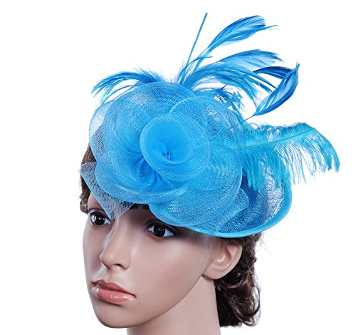 Farktop Kentucky Derby Party Womens Feather Mesh Net Sinamay Fascinator Hat With Hair Clip Tea Party Derby (Fascinator Hats Blue)