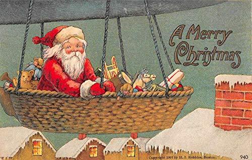Christmas Greetings Santa Claus in Dirigible Vintage Postcard AA1919