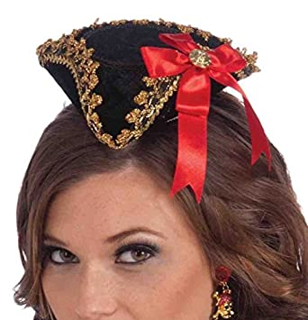Black & Gold Mini Tricorn Pirate Buccaneer Beauty Fascinator Costume Hat with Red Bow Accented with Gold Button and Gold Braid Trim by Mememall Fashion Costumes