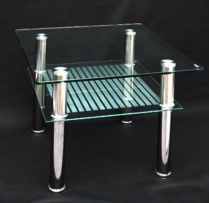 Mesa de Cristal 60 x 60 cm Auxiliar – Mesa Mesa de Acero ...