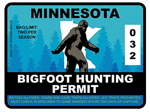 Bigfoot Hunting Permit - MINNESOTA (Bumper Sticker)