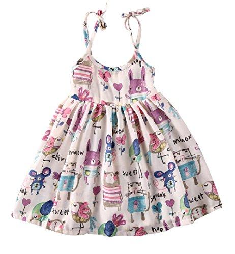 Girls Princess Sleeveless Animal Graffiti Casual Strap Dress (110= 3-4Y) (Animal Dress For Kids)