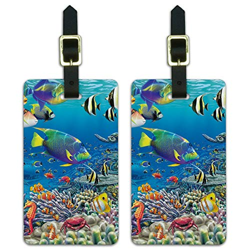 Ocean Coral Reef Angel Fish Garden Diving Luggage ID Tags Cards Set of 2