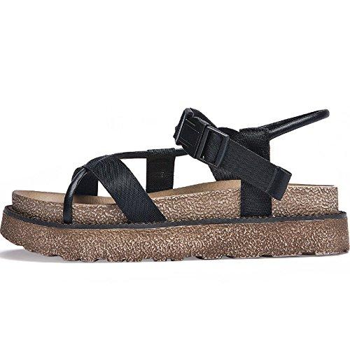 SOHOEOS Sandalias para Mujer Señoras verano Nuevo Vintage señoras hebilla Zapato Abierto La Plataforma zapatos damas plataforma Negro