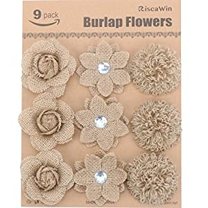 Wedding Decorations Small Burlap Flowers, RiscaWin Handmade Crafts Flowers Natural Hessian Flowers Burlap Lotus Dandelion Rose Vintage for DIY Craft Birthady Party Home Decoration Centerpieces-9 Pcs 1