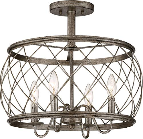 Quoizel RDY1717CS Dury Cage Semi-Flush Ceiling Lighting, 4-Light, 240 Watts, Century Silver Leaf (16