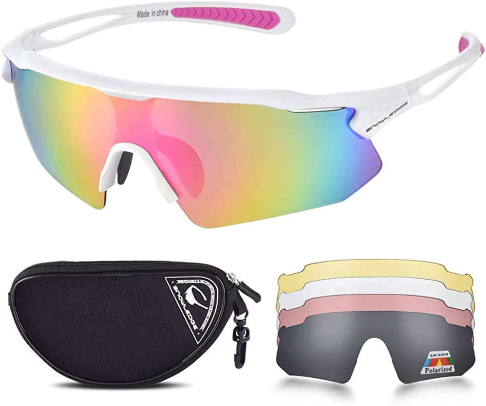 Cycling Glasses with 5 Lenses, UV400 Polarized Sports Sunglasses with TR90 Frame