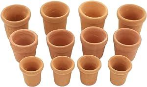 MonkeyJack 1:12 Scale Dollhouse Miniatures 12pcs Ceramic Flowerpots for Fairy Garden Plants