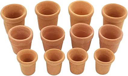 1:12 Scale  4 Terracotta  Flower Pots