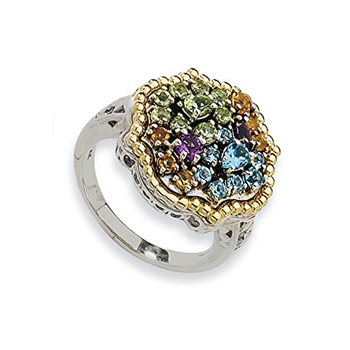 Tw Multi Gemstone Ring (Sterling Silver W/14k 1.43tw Multi Gemstone Ring, Size 8)