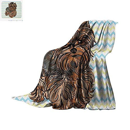 Yorkie Throw Blanket Cute Brown Yorkie with Even Cuter Buckle on its Head Drawing on Chevron Backdrop Print Artwork Image 60