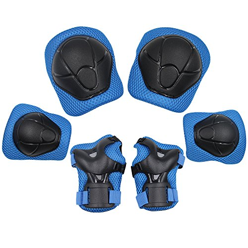 Bmx Gear (Sports Protective Gear Safety Pad Safeguard (Knee Elbow Wrist) Support Pad Set Equipment for Kids Roller Bicycle BMX Bike Skateboard Protector Guards Pads,(Blue))