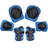 Protección de la almohadilla de seguridad deportes engranaje de protección (soporte de la muñeca de la rodilla) almohadilla de apoyo conjunto de la bicicleta de los niños patín de la bicicleta almohadilla de protección BMX, (azul)