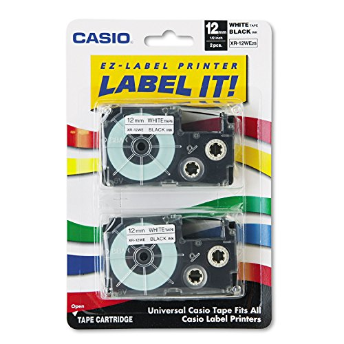 Casio - Tape Cassettes For Ez-Label Printers, 1/2, Black/White, 2/Pack (Casio Ez Label Tape)