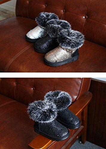 Ohmais Kinder Mädchen Junge Halbschuhe Stiefel und Stiefeletten klassische kleines Mädchen Schuh Schwarz