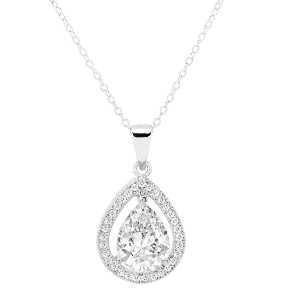 a29856d44d639 Cate & Chloe Isabel Queen 18k White Gold Plated Halo Teardrop Pendant  Necklace - Silver Halo Necklace w/Solitaire Round Cut Cubic Zirconia  Diamond ...