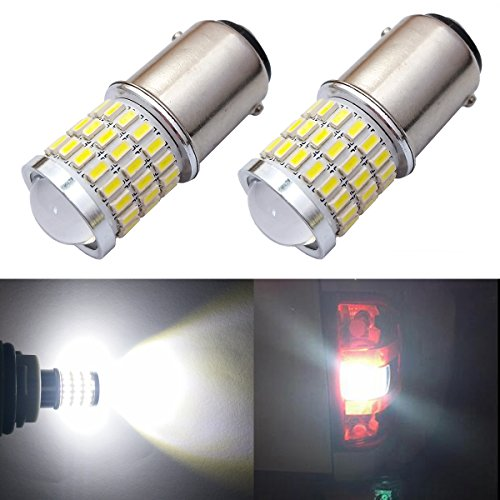 iBrightstar Newest 9-30V Super Bright Low Power 1142 1076 1176 BA15D LED Bulbs with Projector replacement for Back Up Reverse Lights,Brake Lights,Tail Lights,Rv lights,Xenon White