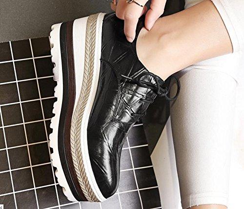 zapatos de encaje de alto desgaste ocasional alrededor de la cabeza del desván 2017 nuevos zapatos de cuero de piel de oveja de cabeza individuales Black