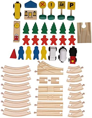 Tmtop DIY Child Early Educational Train Toy Wooden 8 Glyph Track Set