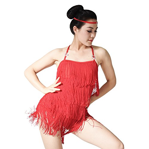 [MiDee Flowing Camisole Five-tiered Tassels Skirt Latin Costume Dance Dress (MA, Red)] (Dance Costumes Ma)