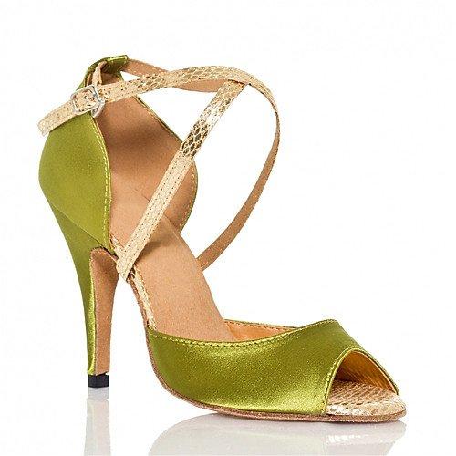Mujer Zapatillas Baile Satin Q Flared Heel Verde Green T de T EPwXEBq