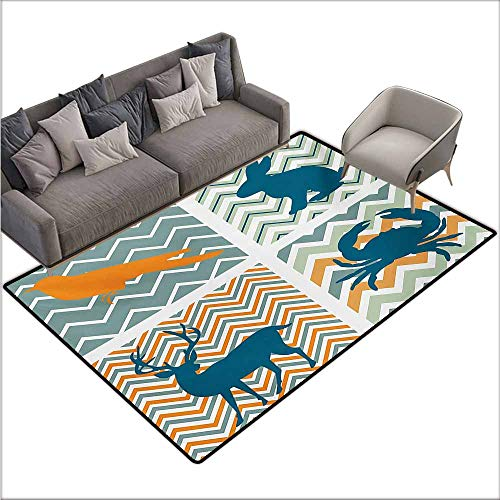 Boop Rug Baby Betty - Room Bedroom Floor Rug Cartoon Baby Crab Elk Bunny Rabbit Orange Bird Silhouettes for Kids Playroom Nursery Image Easy to Clean W70 xL106 Multicolor