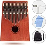 KaisiT Kalimba Thumb Piano 17 Keys Solid Mahogany Body with Tune Hammer, Instruction Book & Case Bag,Portable Finger Piano