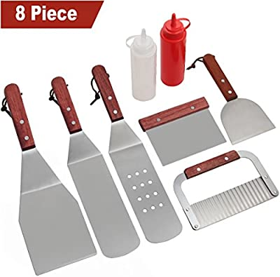 ROMANTICIST 8Pc BBQ Griddle Accessories Kit - Heavy Duty Stainless Steel Professional Griddle Tool Set - Great for Flat Top Cooking Camping Tailgating