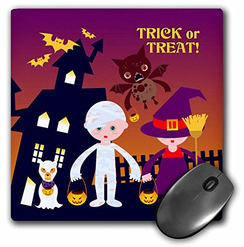 3dRose Belinha Fernandes - Halloween Celebration - Trick or treat message and kids dressed up as mummy and witch with dog ghost - MousePad -