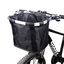 Bicycle Basket Bike Front Handlebar Bag Pet Carrier Dog Cat, Folding Removable Handlebar Metal Aluminum Frame Baske, Black
