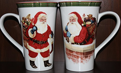 Hello Santa - 222 Fifth Hello Santa Latte Mugs - Set of 2