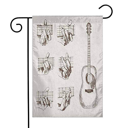 - duommhome Guitar Garden Flag Sketch Art Style Instrument and Chords Acoustic Flamenco Technique Skill Talent Premium Material W12 x L18 Cream Brown