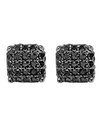 0.33 Carat (ctw) Sterling Silver Black Diamond Ice Cube Dice Shape Mens Hip Hop Iced Stud Earrings 1/3 CT