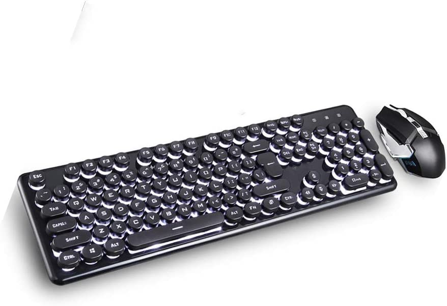 black blue li CQIANG Wireless Gaming Keyboard And Mouse Combo, Mouse With Adjustable DPI Ergonomic Wrist Rest Keyboard, Business Wireless Keyboard And Wireless Mouse Bundle Pack,Black and white light
