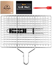 Cattlegrill Foldable BBQ Fish Grill Basket with 430 Stainless Steel, Outdoor use for Fish, Steak, Kebabs, Vegetables and Burger- Grill Set Includes: a Reusable Grill mat and a basting Brush.