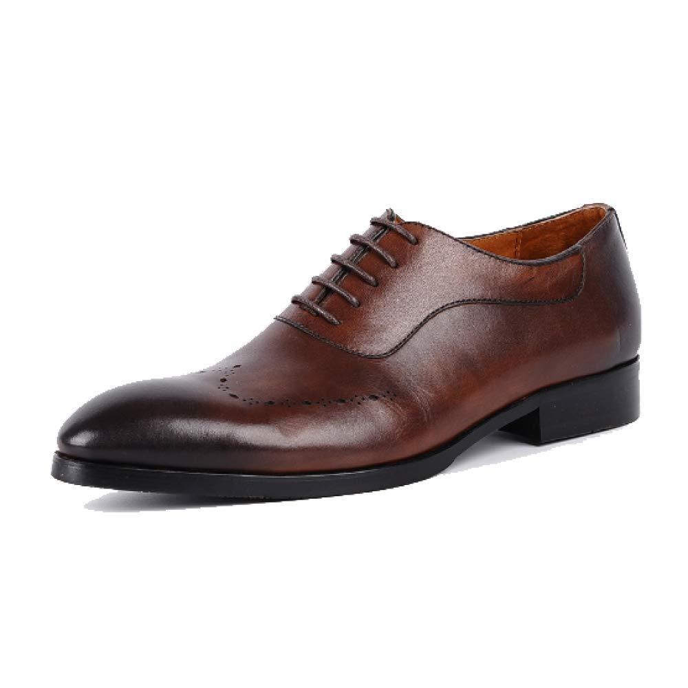 Zapatos De Cuero De Hombres Acentuados Zapatos De Inglaterra Zapatos Bajos De Europa Y América Moda Atmosférica Vestible De Negocios 40 EU Brown