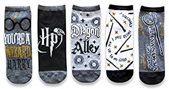Harry Potter Diagon Alley Wizard Magic Juniors/Womens 5 Pack Ankle Socks Size 4-10