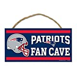 NFL New England Patriots Wood Sign with Rope, Blue, 5 x 5 x 10''
