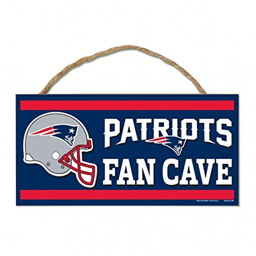 NFL New England Patriots Wood Sign with Rope, Blue, 5 x 5 x 10