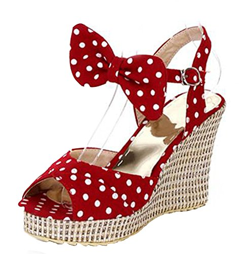 (Easemax Women's Cute Peep Toe Wedge Heels Canvas Sandals with Bow Red 4 B(M))